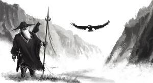 Mies varis olallaan ja korppikotka liitää perässä