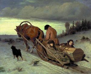 Hevonen vetää ruumisarkkua, lapset reessä kyydissä, äiti ohjastaa hevosta, maalaus