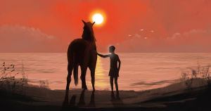 Hevonen ja poika seisovat rannalla auringonlaskun aikaan, maalaus