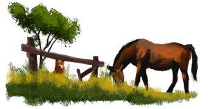 Hevonen ja koira niityllä, maalaus