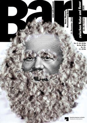 Ausstellungsplakat. Gunter Rambow: Bart. Zwischen Natur und Rasur, 2015. Siebdruck, Gänsefedern.