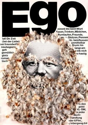 Gunter Rambow: Ego, 1969. Siebdruck, Gänsefedern.