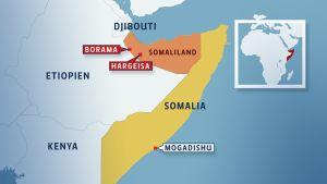 karta över somaliland och somalia
