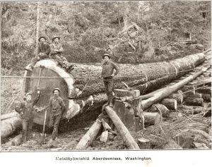 Amerikansuomalaisia metsätyömiehiä Aberdeenissa, Washingtonissa n. 1904