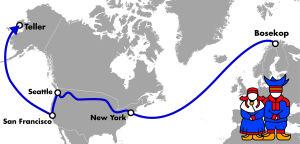 kartta saamelaisten matkasta alaskaan