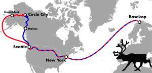 kartta saamelaisten matkasta alaskaan vuonna 1898