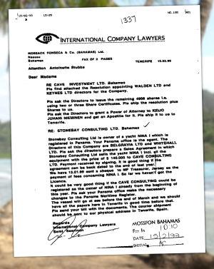 Panama-papereista löytynyt asiakirja.