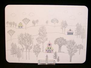 Rut Brykin piirtämää kuvitusta Tapio Wirkkalan Winterreise -sarjaan
