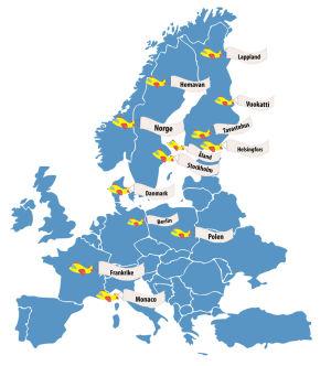 karta över vart finlandssvenska rest på klassresor