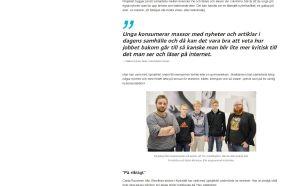 En skärmdump av en dynamisk webbnyhet med upplyft citat, bild, mellanrubrik etc.