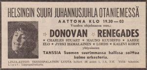 Lehti-ilmoitus Donovanin esiintymisestä Espoon Otaniemessä 1966.