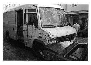 Bilen som innehöll varor som skulle till apoteket på Storgatan.