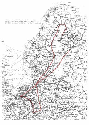 En karta över Europa som visar att han åkt från Helsingfors till Österrike och sedan tillbaka till Finland via Sverige.