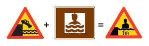 Kenneth Levänen visar hur trafikverkets märken inspirerade honom till en varningsskylt för grunt vatten
