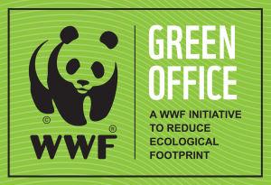 Green Offices logotyp föreställande en banda samt texten Green Office - A WWF Initative to reduce Ecological footprint.