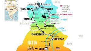 Matti Rämön pyöräilyreitti Himalajalla Delhistä Jammun, Srinagarin ja Leh'n kautta Manaliin