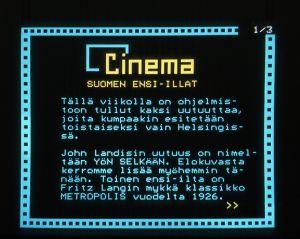 Elokuvatietoja Tekstitelevisiossa vuonna 1985.