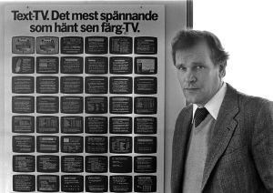 Ohjelmapäällikkö Erkki Hatakka Teksti-tv vuonna 1981.