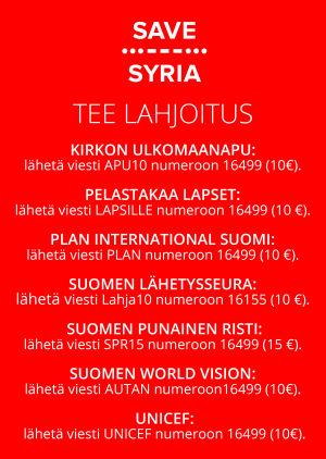 Save Syria -tukikonsertin lahjoitusnumerot