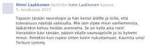 Ninni ja Ismo Laakkonen FB päivitys