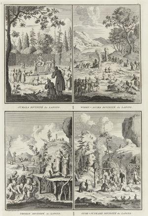 Lappalaisten jumalia. Picart Bernhardin kuparikaiverrus vuodelta 1726.