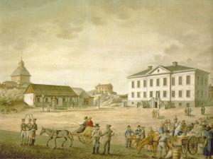 Carl Ludvig Engelin vesivärimaalaus Senaatintorista