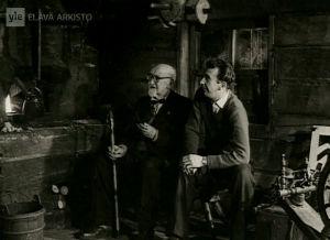 Ilmari Kianto ja Matti Kassila Punaisen viivan kuvauksissa (1959).
