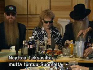 ZZ Top -yhtye lehdistötilaisuudessa Suomessa 1991.