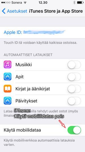 Sovellusten automaattisten päivitysten estäminen iPhonessa.