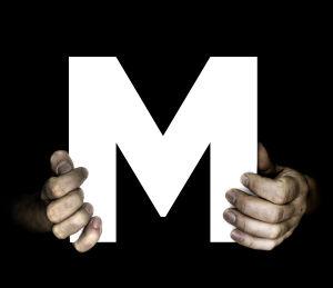 Kuvituskuva: Kirjain M ja kädet.