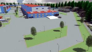 En animerad industribyggnad i blå och röd färg.