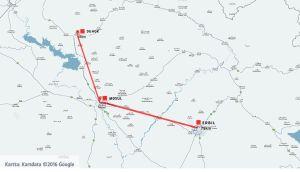 Karta över avståndet mellan Mosul och Duhok respektive Erbil