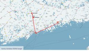 Karta, avstånd mellan Helsingfors och Riihimäki respektive Lovisa