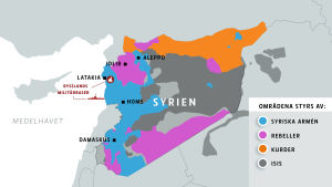 Kartan visar vilka områden i Syrien som styrs av vilka grupper.
