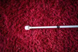 Valkoinen keppi Markku Tallilan olohuoneen maton päällä.
