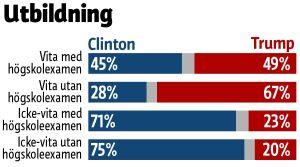 Grafiken visar att 67 procent av de vita väljarna med högskoleexamen röstade på Trump, medan motsvarande andel bland icke-vita väljarna bara var 23 procent.