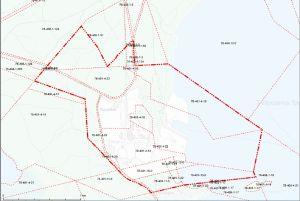 En grön karta med röda streck.