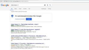 """En Google-sökning på """"Miele Classic c1""""."""