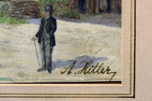 Yksityiskohta Hitlerin maalaamasta taulusta. Signeeraus.
