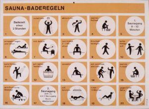 Bild på plakat med ordningsregler i en tysk bastu.