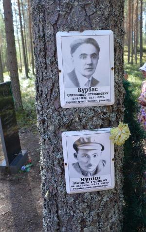 Kahden teloitetun kuvat puunrungossa Sandarmohissa