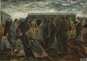Målning som föreställer avmagrade kvinnor och män på koncentrationslägret Bergen-Belsen.