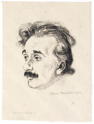 Etsning föreställande Albert Einstein.