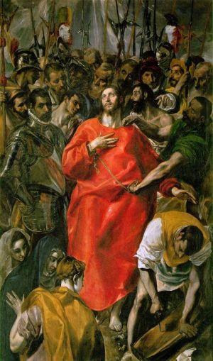 """El Grecon maalaus El Espolio (""""Ryöstö""""), kuvassa Jeesus sotilaiden pilkattavana."""