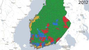 Resultatet i kommunalvalet i södra Finland 2012
