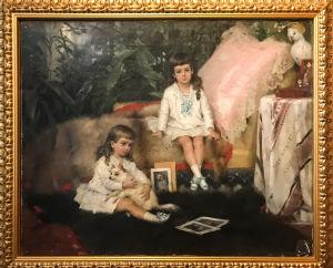 En tavla av Albert Edelfelt, två pojkar i klänning och lockigt, långt hår. Tavlan föreställer tsar Alexander den tredjes brorsöner.