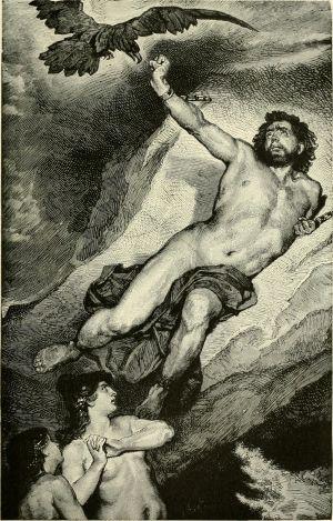 Den grekiska guden Prometheus fjättrad vid ett berg.