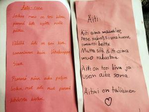 Kuvassa on lasten runoja äidille äitienpäivänä