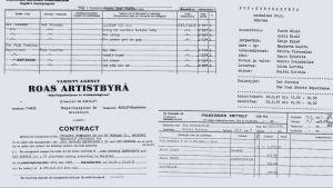 Sopimus ja tuotantopapereita Jimi Hendrixin ja Cat Stevensin tv-esiintymisestä.