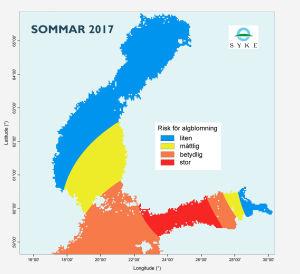 Kartan visar att risken för algblomning är störst på Finska viken och minst i Bottniska viken.